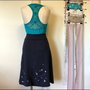 Teal blue embroidered racer back tank top size L
